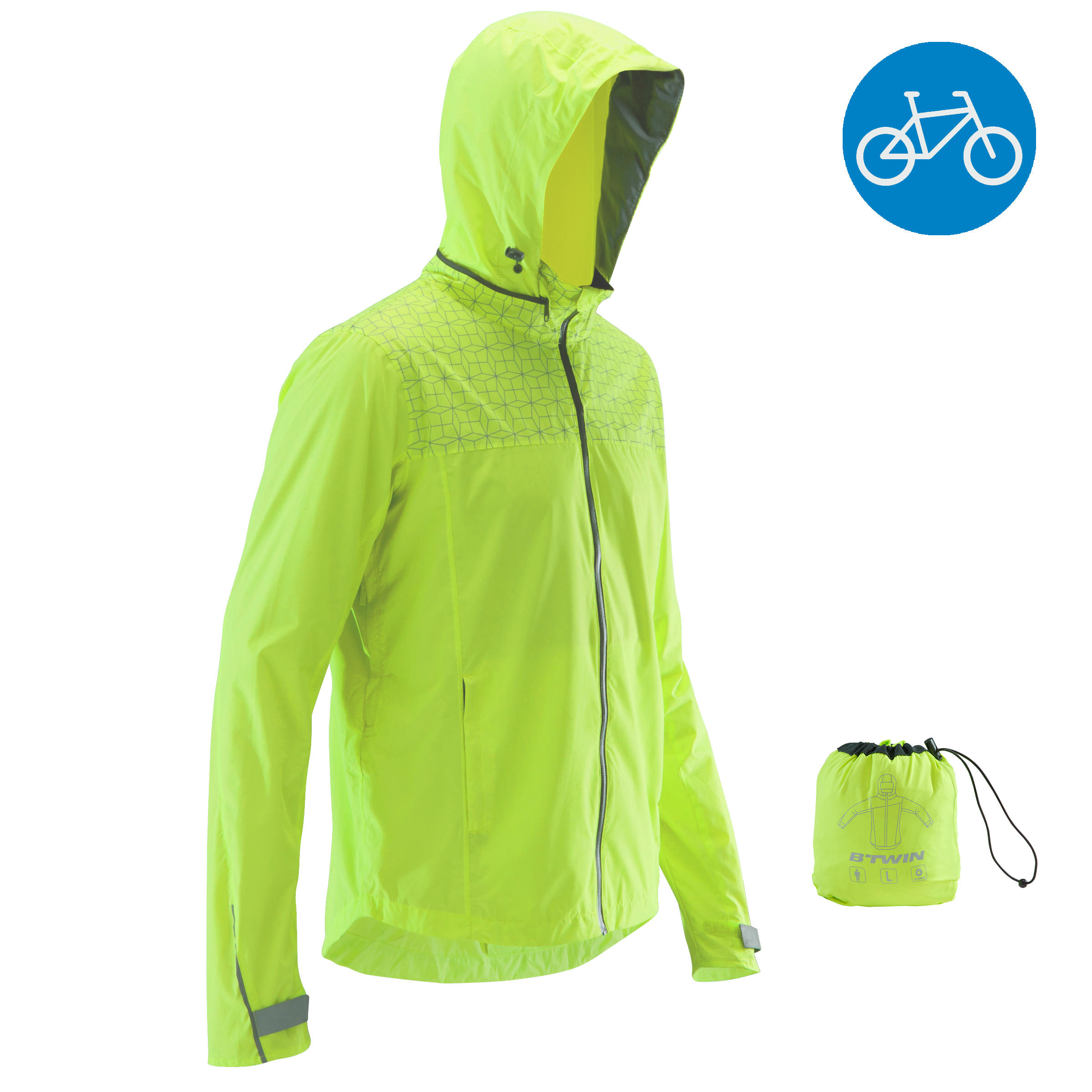 500 City Cycling Rain Jacket - Neon Yellow