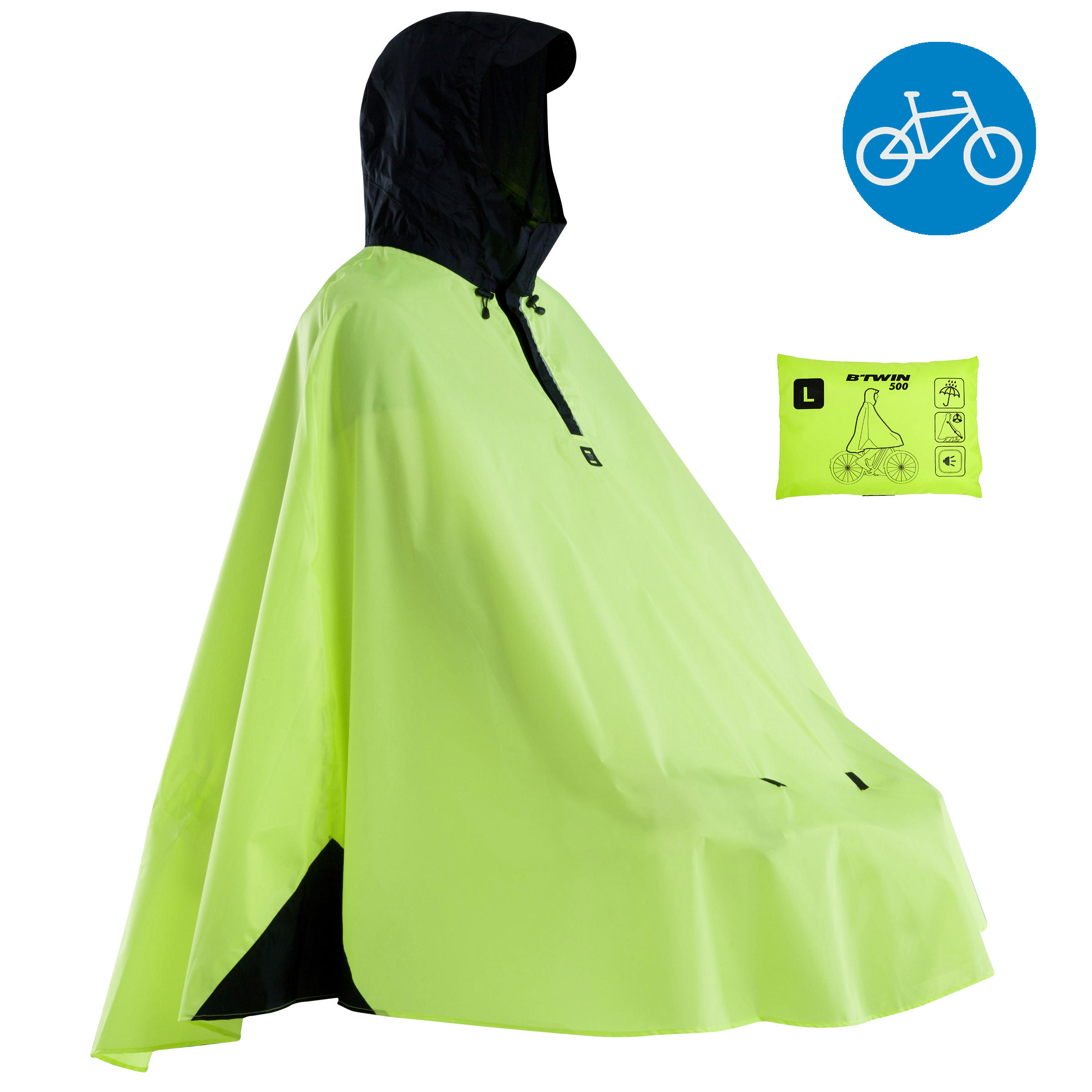 500 Cycling City Rain Poncho - Yellow