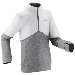 Chaqueta térmica de esquí niño MID WARM 300 blanco gris