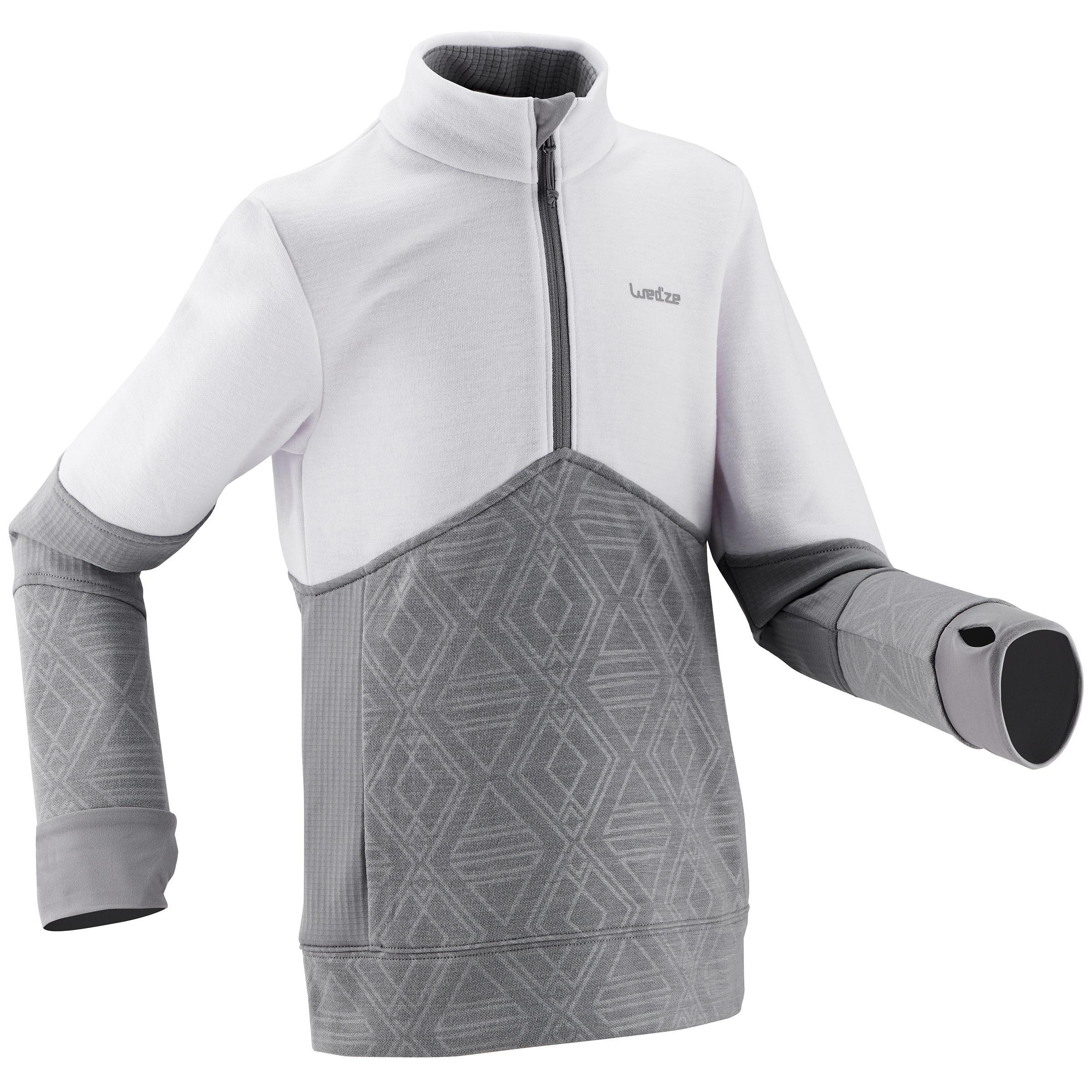 Wed'ze Midlayer voor skiën kinderen Mid Warm 300 wit/grijs
