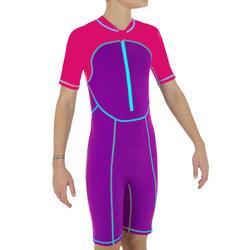 Bañador de natación forma shorty niña rosa violeta