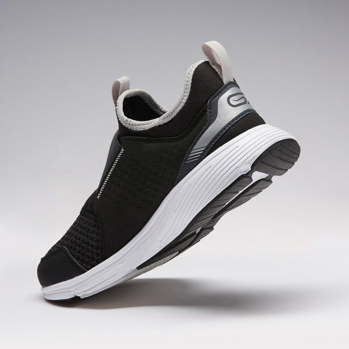 Laufschuhe Run Support Easy Leichtathletik Kinder schwarz/grau
