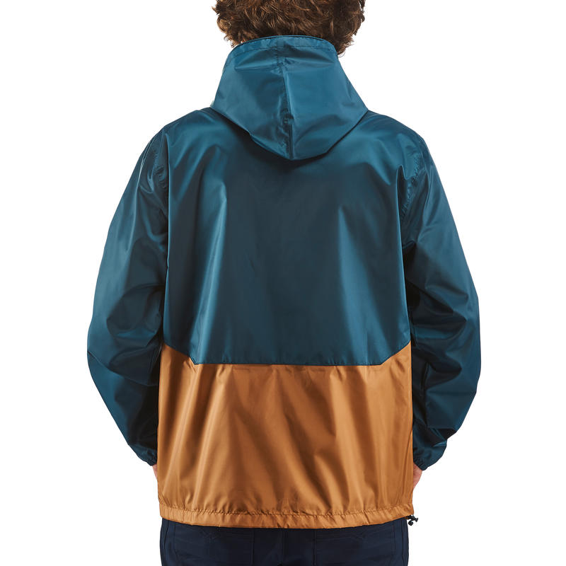 Men's Raincoat NH100 (Full Zip) - Brown/Navy Blue
