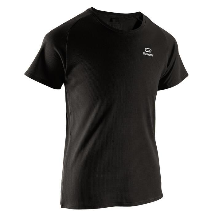 T-shirt voor atletiek kinderen club personaliseerbaar zwart