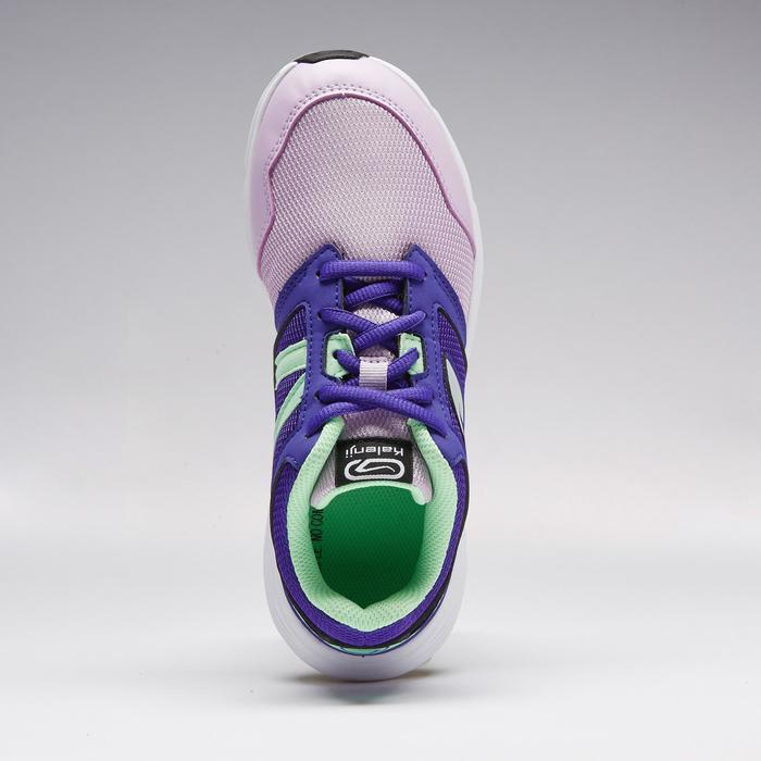 兒童田徑鞋帶運動鞋RUN SUPPORT紫紅色與綠色
