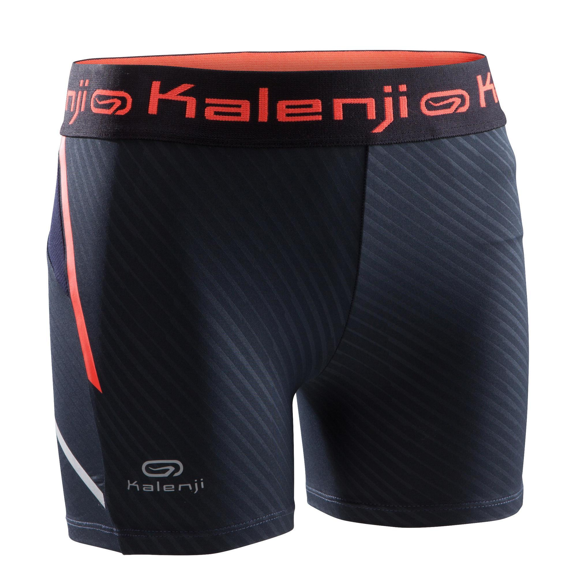 Kalenji Atletiek shorty voor meisjes zwart fluo-oranje