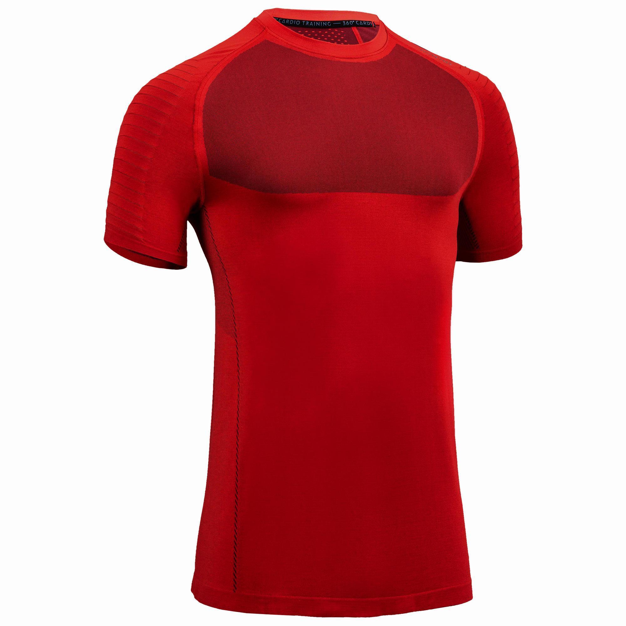 T-Shirt FTS 900 Fitness Cardio Herren rot | Sportbekleidung > Sportshirts > Poloshirts | Domyos