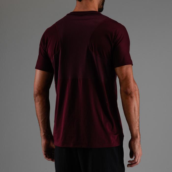 有氧健身T恤FTS 500-酒紅色印花