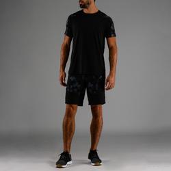 Camiseta cardio fitness hombre FTS 500 negro AOP