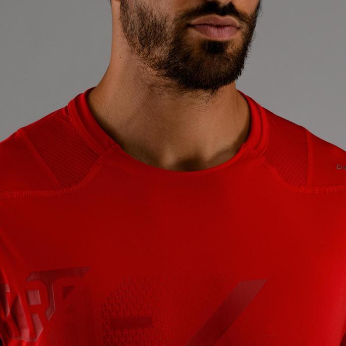 有氧健身T恤FTS 500-紅色印花