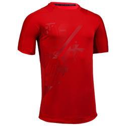 Camiseta Manga Corta Fitnes Cardio Domyos Hombre Rojo FTS 500