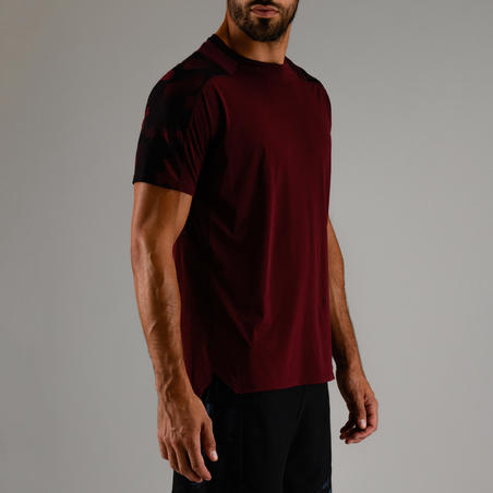 FTS 500 T-Shirt Fitness Kardio - merah gelap AOP