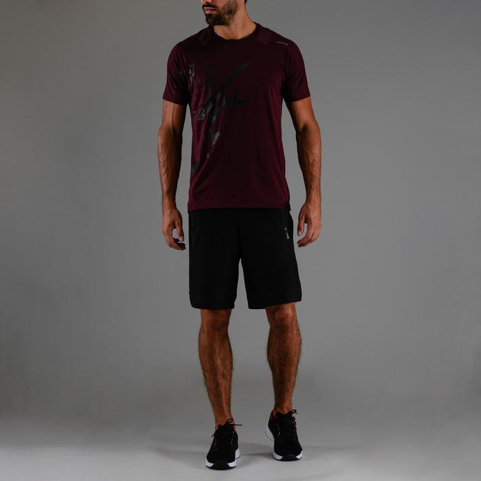 Cardiofitness T-shirt voor heren FTS 500 bordeaux print