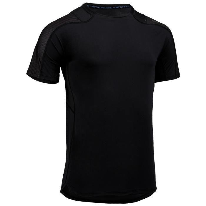 Cardiofitness T-shirt voor heren FTS 500 zwart zwart