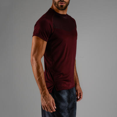 Tee shirt cardio fitness homme FTS 120 bordeaux