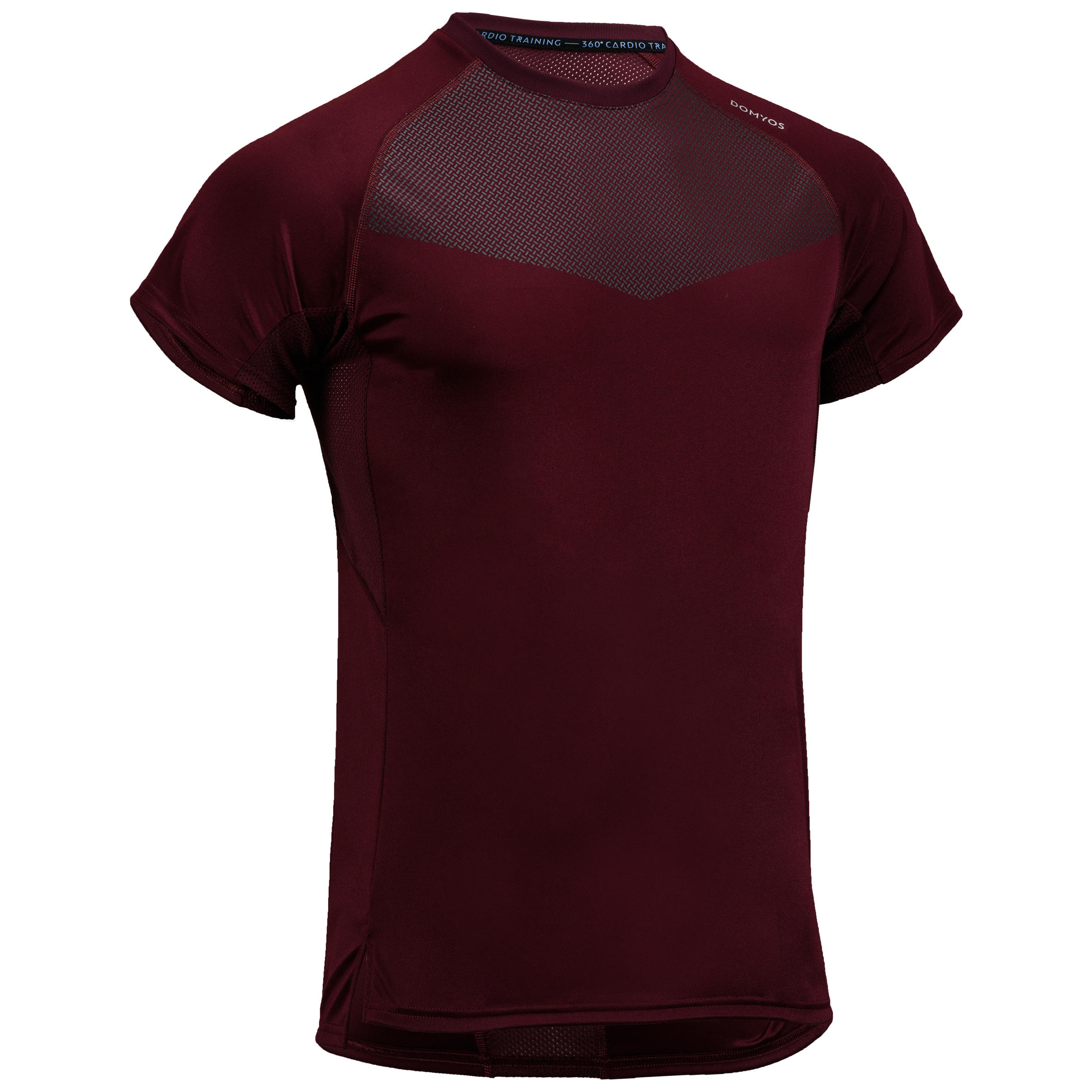 Camiseta cardio fitness hombre FTS 120 burdeos