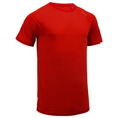 37d2a136e817b6 FTS 100 Fitness Cardio Training T-Shirt - Blue/Red | Domyos by Decathlon