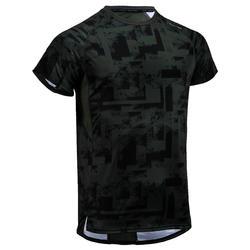 Fitness shirt 120 voor heren, kaki met print