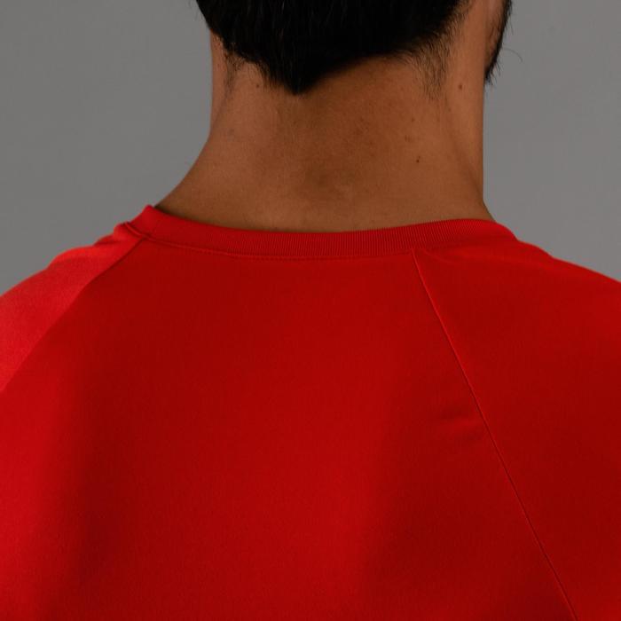 Camiseta cardio fitness hombre FTS 100 azul rojo