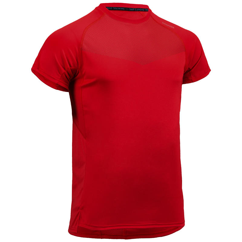 Tee shirt cardio fitness homme FTS 120 rouge