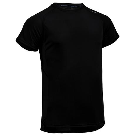 fts 120 cardio fitness t shirt plain black domyos by. Black Bedroom Furniture Sets. Home Design Ideas