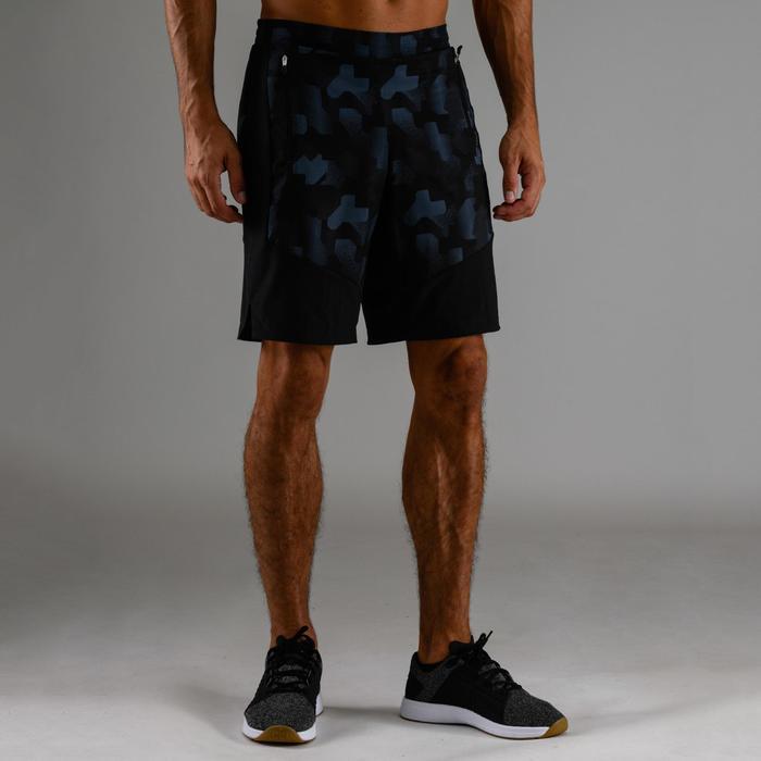 Sportbroekje fitness FTS 500 voor heren, zwart/blauw