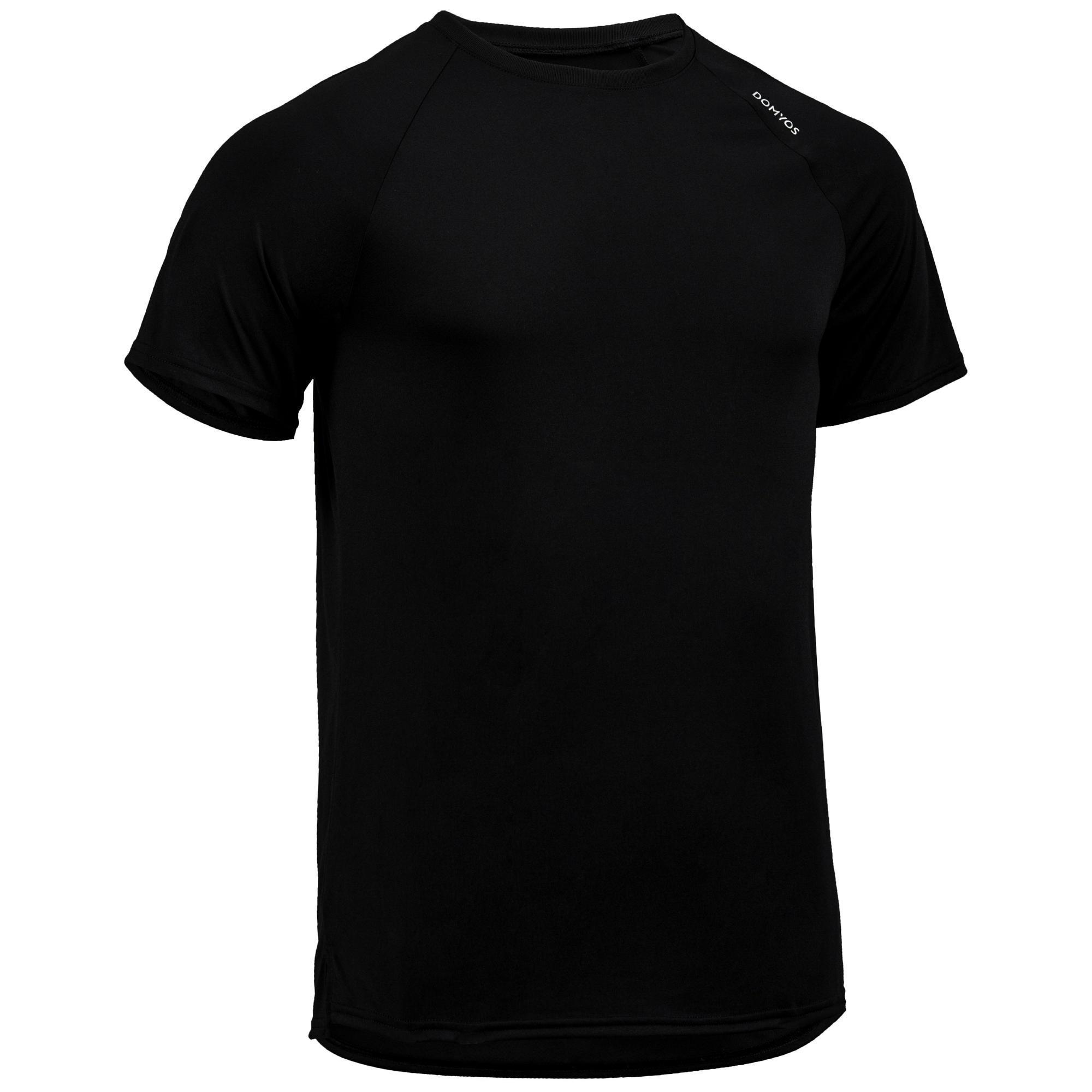 fts 100 cardio fitness t shirt black domyos by decathlon. Black Bedroom Furniture Sets. Home Design Ideas