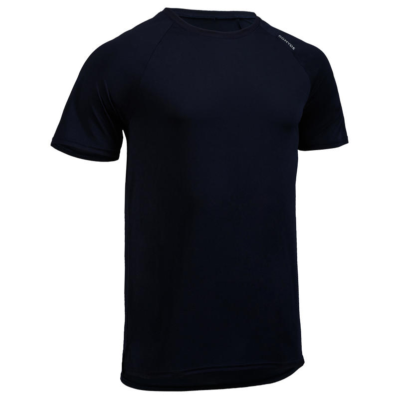 87f7668d2e449c All Sports>Fitness Cardio>Fitness Cardio Clothes>Men Clothes>Fitness Tanks,  Tee-Shirts>FTS 100 Fitness Cardio Training T-Shirt - Navy Blue. DOMYOS