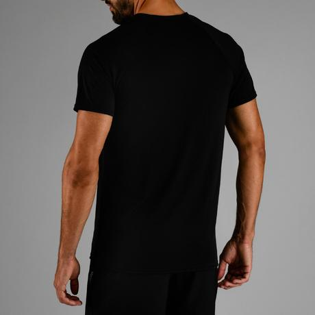 41a1d108679fdc FTS 100 Cardio Fitness T-Shirt - Black | Domyos by Decathlon