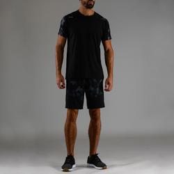 Pantalón Corto Chándal Fitnes Cardio Domyos Hombre Negro Estampado FST500