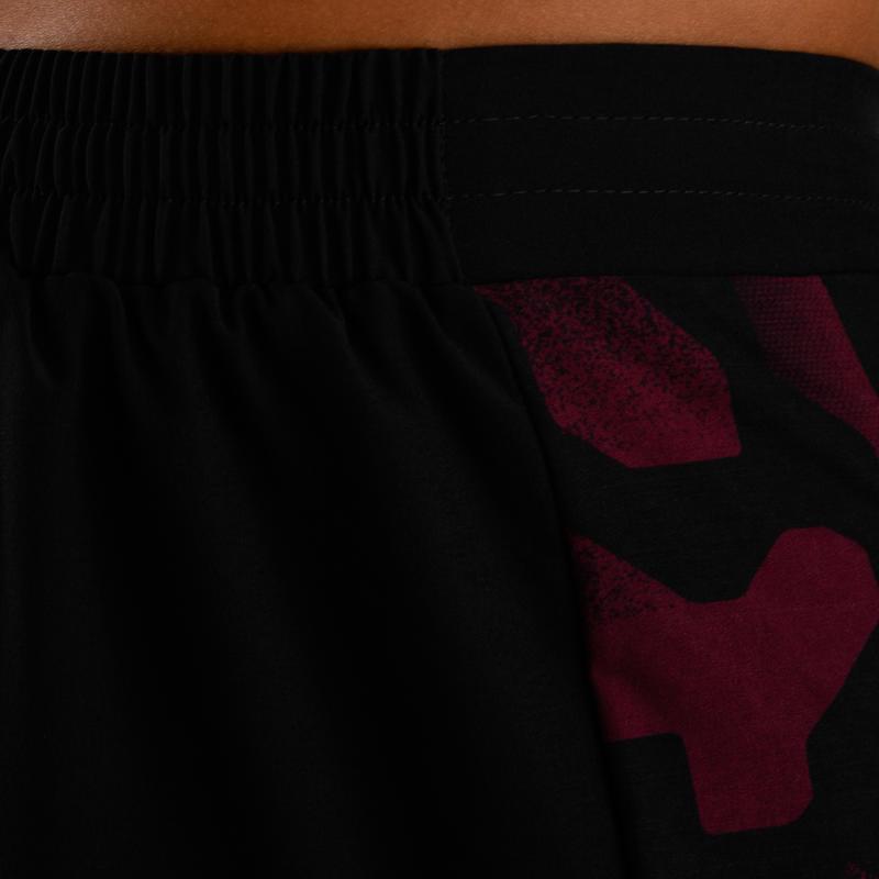 กางเกงขาสั้นสำหรับใส่ออกกำลังกายแบบคาร์ดิโอรุ่น FST 500 (สีม่วงแดง/ดำ AOP)