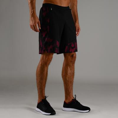 Short cardio fitness homme FST 500 bordeaux noir AOP