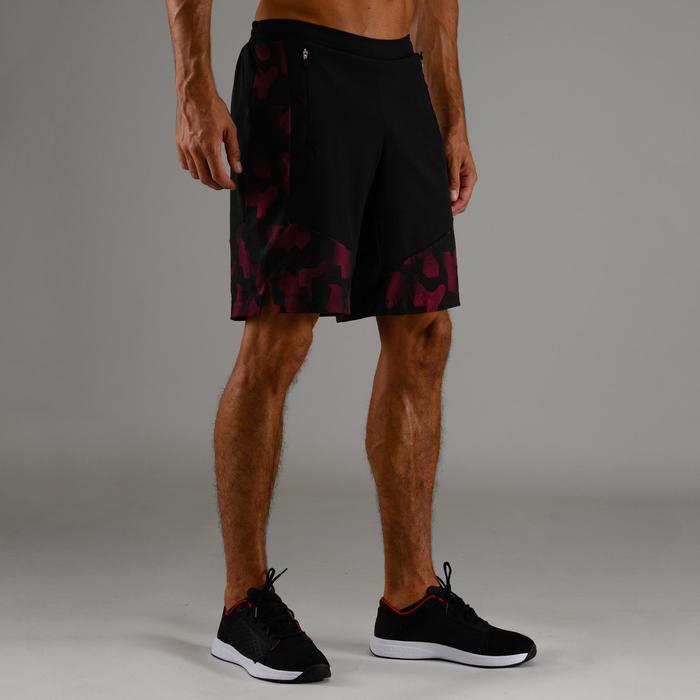 Sportbroekje fitness FTS 500 voor heren, zwart/bordeaux