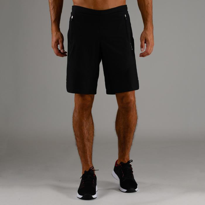 Sporthose kurz FST 500 Cardio Fitness Herren schwarz mit Zickzackmuster