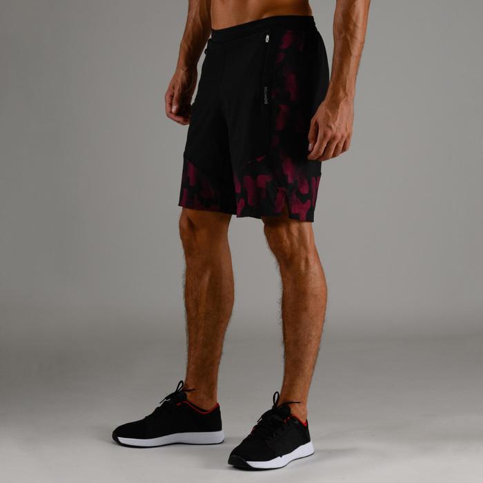 Sporthose kurz FST 500 Cardio-/Fitnesstraining Herren bordeauxrot/schwarz