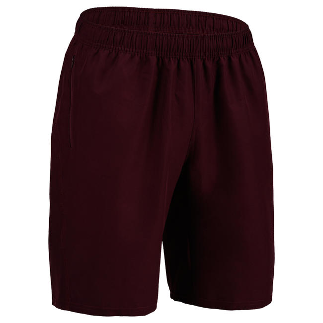 Men's Zip-Pocket Rapid Dry Cardio Gym Short With Mesh - Burgundy