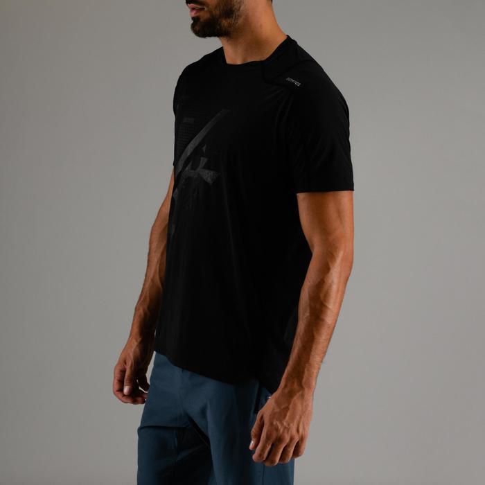 有氧健身T恤FTS 500-黑色印花