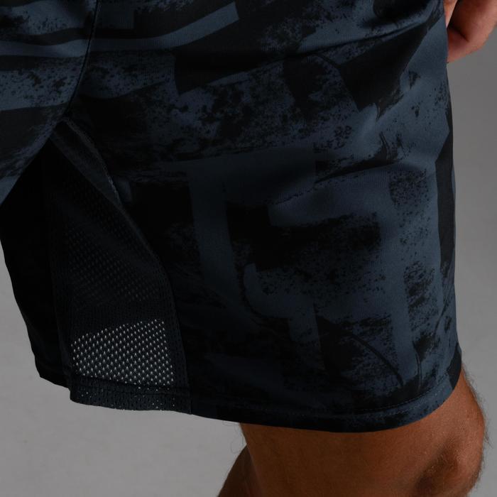 Sportbroekje fitness FST 120 voor heren, blauw/grijs met print