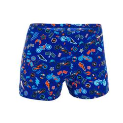 Badehose Boxer 500 Fit All Moboui Jungen orange/blau