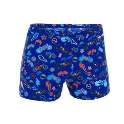 Zwemboxer voor jongens 500 Fit All Mobou blauw/oranje