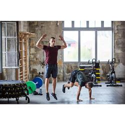 有氧健身訓練短褲FST 120-刷色黑色印花