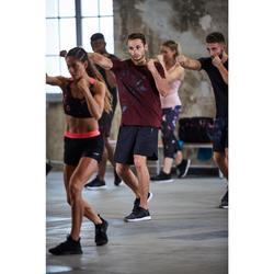 Sporthose kurz FST 500 Fitness Cardio Herren schwarz mit Zickzackmuster
