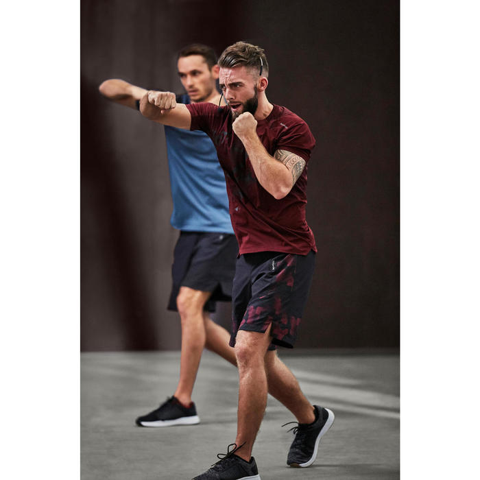 Tee shirt cardio fitness homme FTS 500 bordeaux print