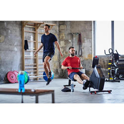 T-shirt voor cardiofitness heren FTS 100 blauw/rood