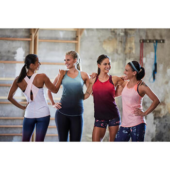 Débardeur réversible cardio fitness femme rose framboise 520