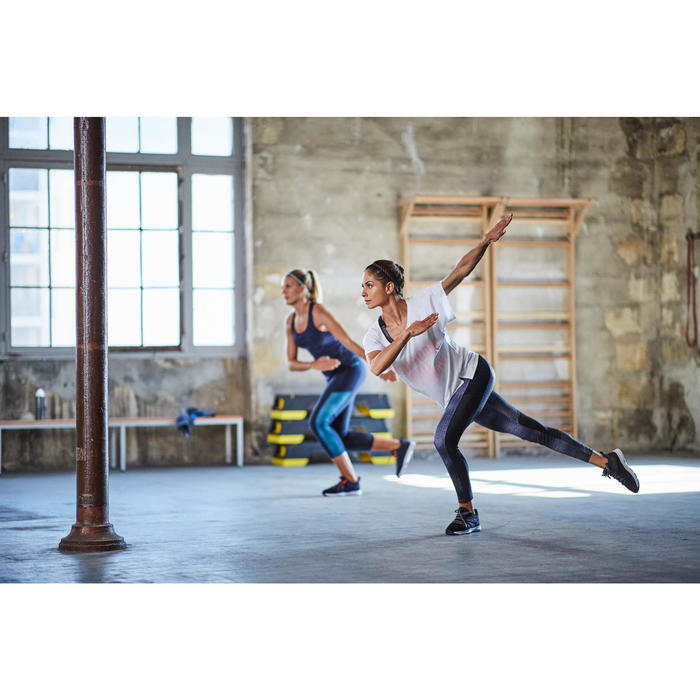 Fitness legging 120 voor dames, grijs/zwart