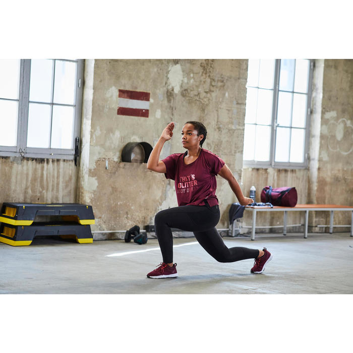 Fitnessschuhe Cardiotraining 120 Mid Damen bordeauxrot