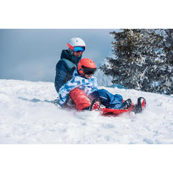 CHILDREN'S SKI JACKET WARM REVERSE 100 - CORAL AND BLUE
