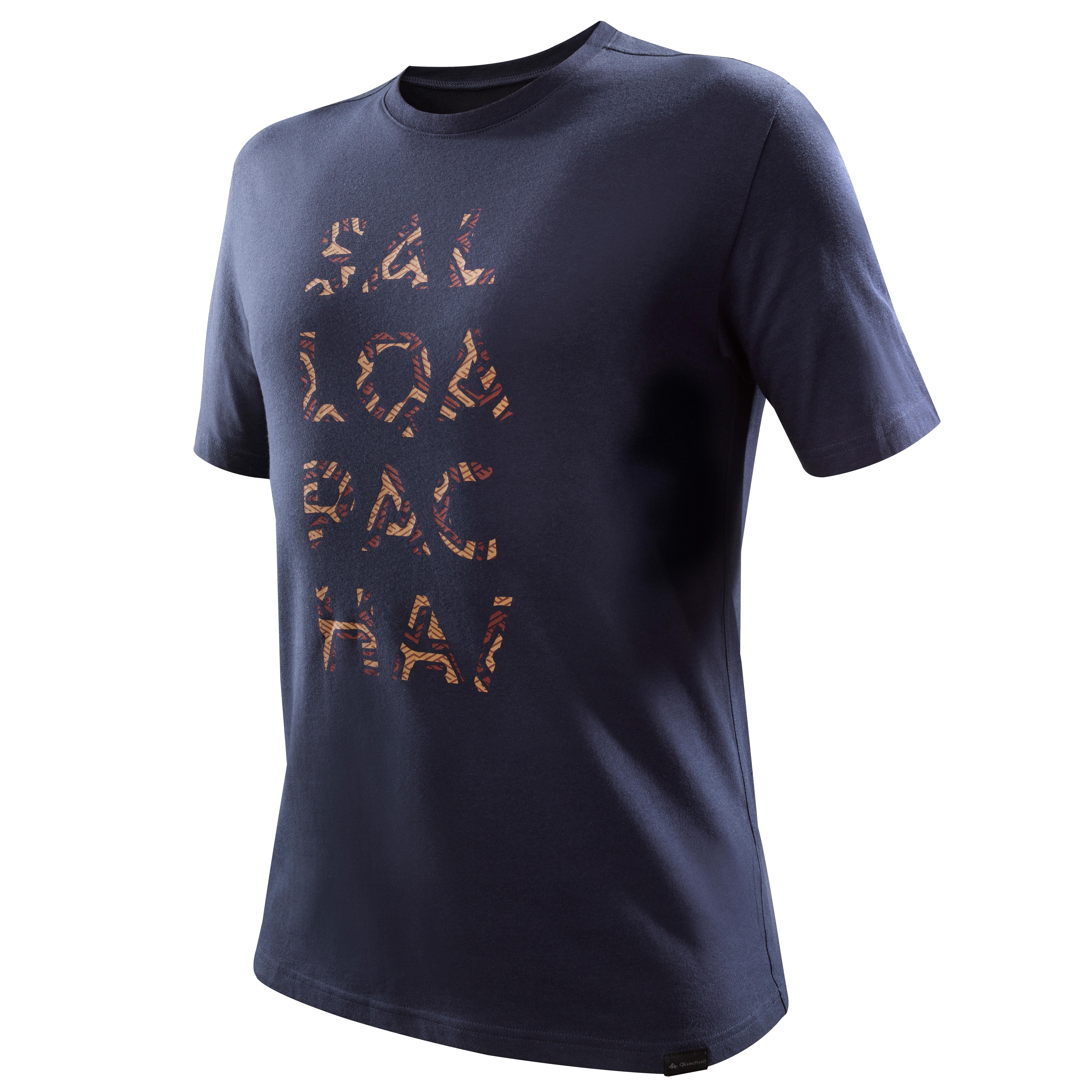 Camiseta senderismo naturaleza NH500 hombre azul marino