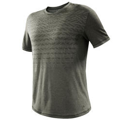 Camiseta Manga Corta de Montaña y Trekking Forclaz NH500 Fresh Hombre Caqui